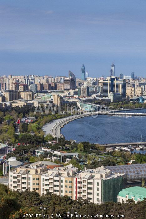 Azerbaijan, Baku, high angle view of city skyline from the west