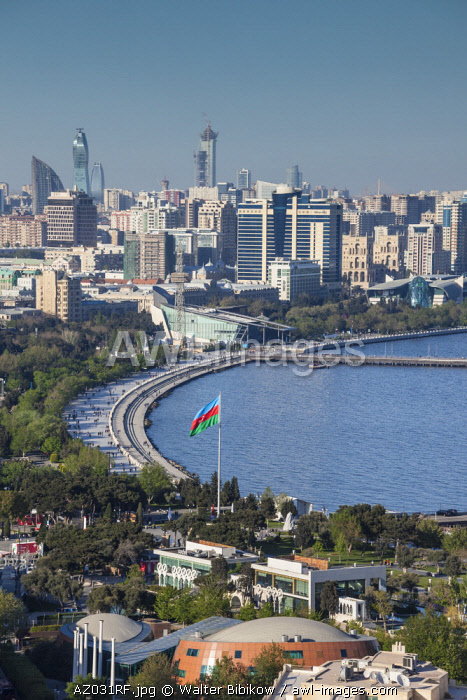 Azerbaijan, Baku, high angle view of city skyline from the west