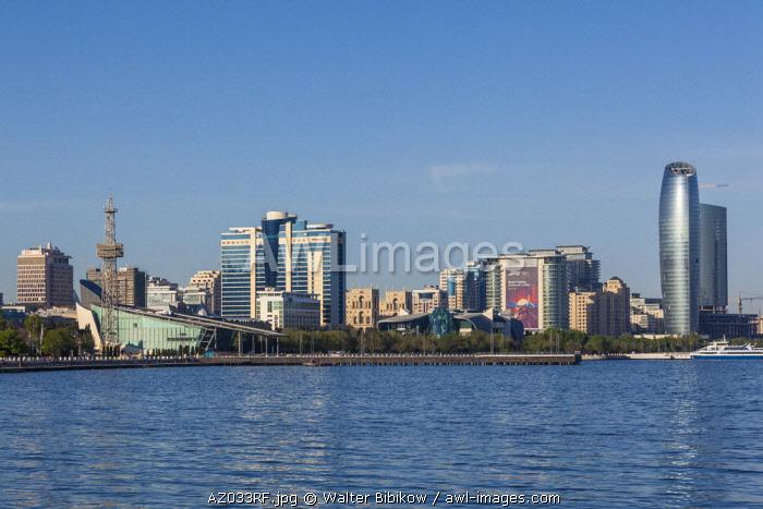 Azerbaijan, Baku, Bulvar Promenade, city skyine from Baku Bay