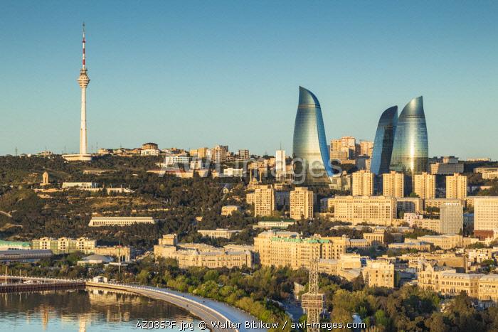 Azerbaijan, Baku, high angle city skyline, from the north