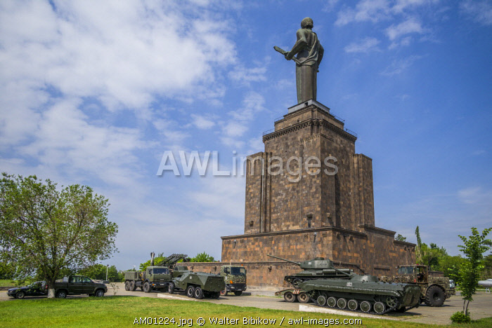 Armenia, Yerevan, Soviet-era Mother Armenia statue and tanks