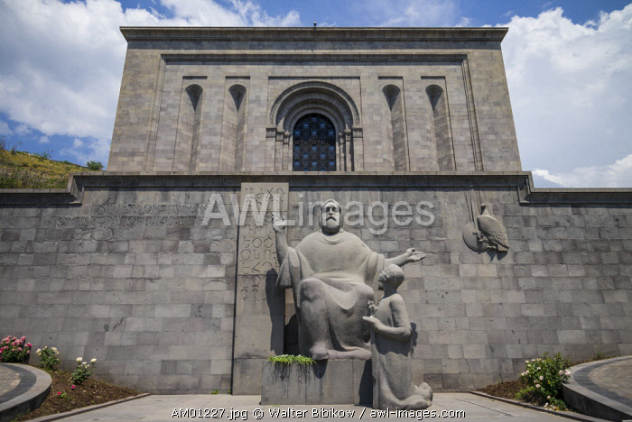 Armenia, Yerevan, Matenadaran Library, statue of St. Mesrop Mashtots, founder of the Armenian alphabet