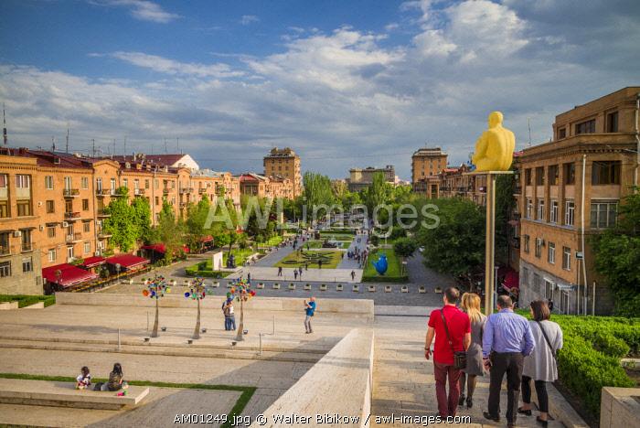 Armenia, Yerevan, The Cascade, high angle view of city skyline