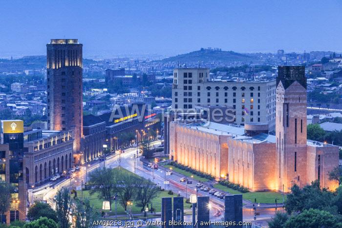 Armenia, Yerevan, Yerevan Noy Brandy Company, Brandy distillers since the 19th century, high angle view above Argishti Street