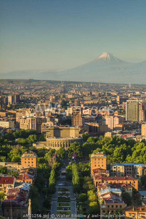 Armenia, Yerevan, The Cascade, high angle view of the city and Mt. Ararat
