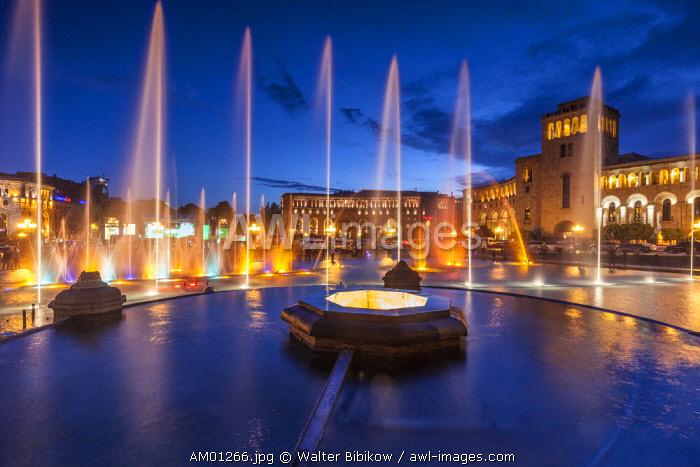 Armenia, Yerevan, Republic Square, dancing fountains