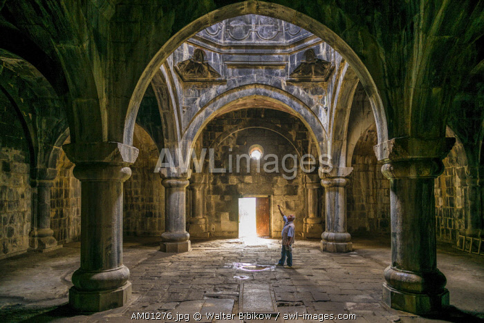 Armenia, Debed Canyon, Haghpat, Haghpat Monastery, 10th century, Church of the Holy Cross with visitor, MR