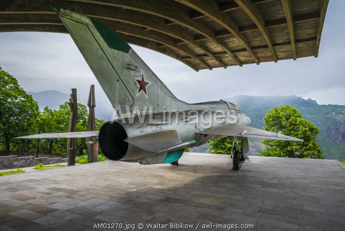 Armenia, Debed Canyon, Sanahin, MIG-21 jet fighter Monument to the birthplace of the Mikoyan Brothers, Anastas, Soviet Politburo member and Artyom, designer of MIG jets