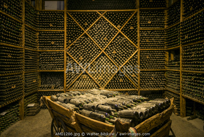 Armenia, Switzerland of Armenia area, Ijevan, Ijevan Wine Factory, wine cellar, old wine bottles