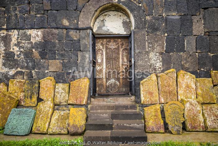 Armenia, Lake Sevan, Sevan, Sevanavank Monastery, churchyard, kachkar memorial stones