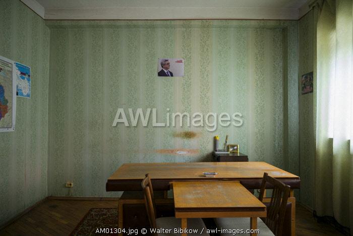 Armenia, Yeghegnadzor, Soviet-era Hotel Gladzor, office interior