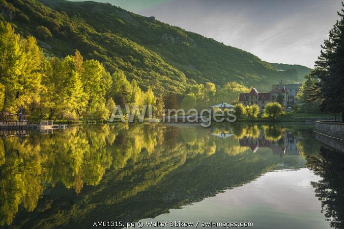 Armenia, Jermuk, mineral water resort town, town lake