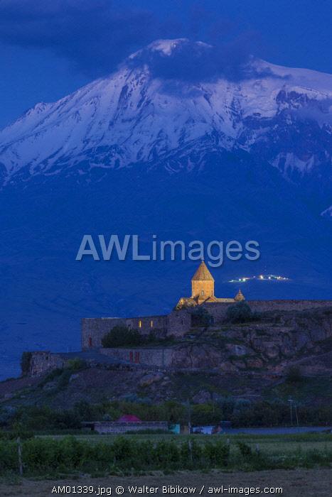 Armenia, Khor Virap, Khor Virap Monastery, 6th century, with Mt. Ararat