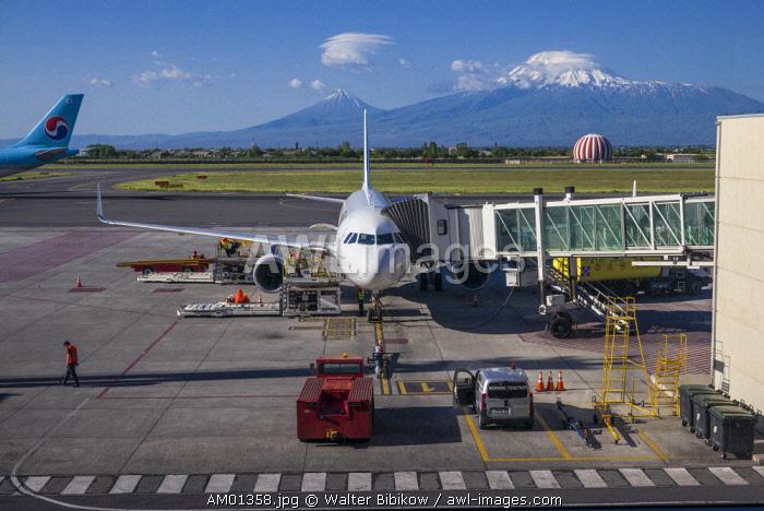 Armenia, Yerevan, Yerevan Zvarnots Airport, EVN, airliner and Mt. Ararat
