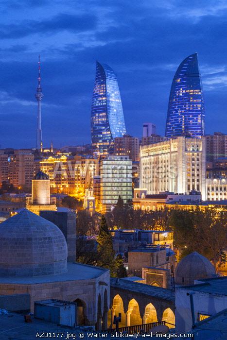 Azerbaijan, Baku, high angle skyline view with The Flame Towers