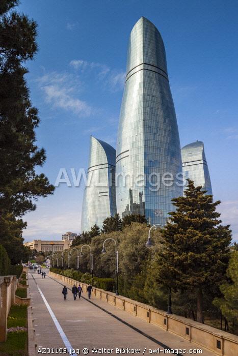 Azerbaijan, Baku, Shahidler Xiyabani Memorial Park, Martyr's Lane, dedicated to the fallen in the Nagorno Karabakh War, street view towards The Flame Towers
