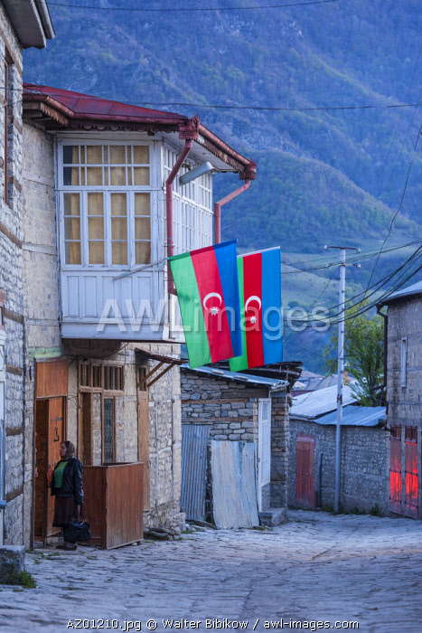 Azerbaijan, Lahic, main street with person