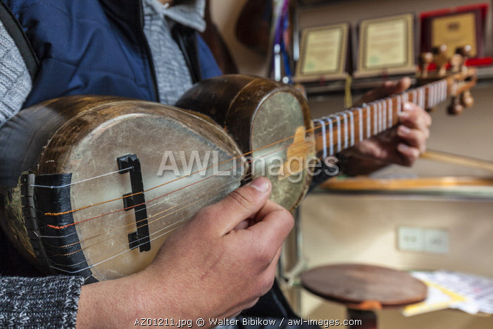 Azerbaijan, Sheki, Nukha Fortress, young man playing traditional Tar, stringed  instrument, MR