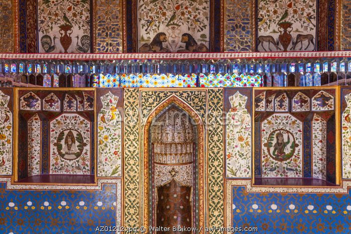 Azerbaijan, Sheki, Winter Palace, 18th century detail