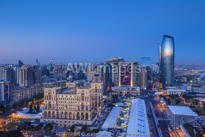 Azerbaijan, Baku, high angle skyline with Dom Soviet Government House