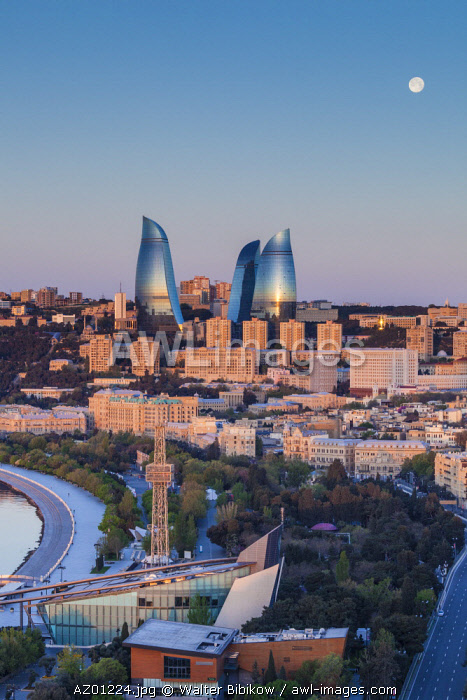 Azerbaijan, Baku, high angle city skyline, from the north