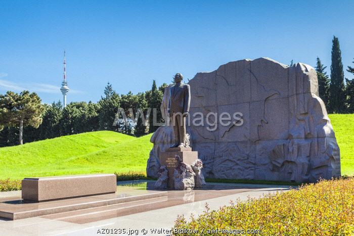 Azerbaijan, Baku, Fexri Xiyaban, Alley of Honor, cemetery of Azeri leaders, tomb of Heydar Aliyev, former President