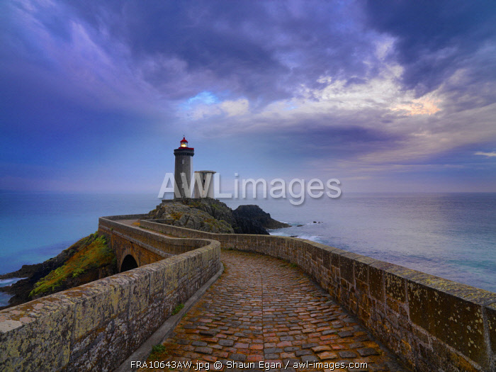 France, Brittany, Finistere, Iroise Sea, Plouzane, Petit Minou Lighthouse at dusk