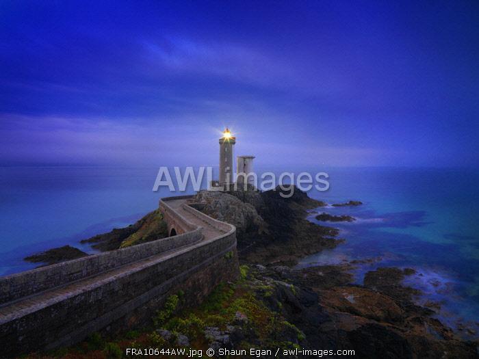 France, Brittany, Finistere, Iroise Sea, Plouzane, Petit Minou Lighthouse at dusk