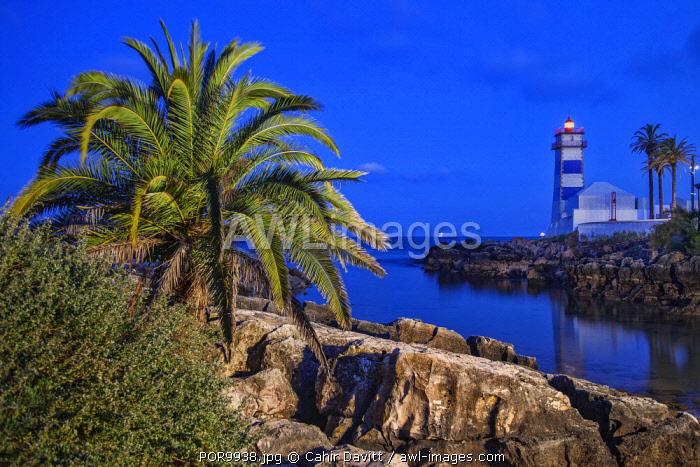 The museum of Farol de Santa Marta Lighthouse at twilight, Santa Marta, Abuxarda, Cascais, Lisboa, Portugal.