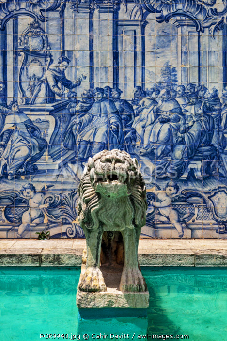 Lion statue, Painted tiles and water fountain in the grounds of Museu Condes de Castro Guimares, Cascais, Lisboa, Portugal