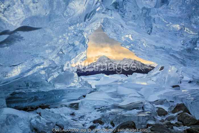 Canada, Alberta, Canadian Rockies. Small ice cave at Abraham Lake