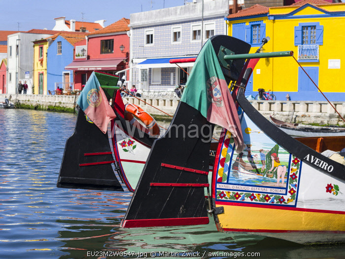 Traditional painted Moliceiro Boats. Aveiro in Portugal on the coast of the Atlantic. Because of the many channels Aveiro is called the Venice of Portugal.