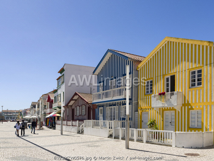 Colorful houses of Costa Nova, a seaside resort and suburb of Aveiro. Because of the many channels Aveiro is called the Venice of Portugal.
