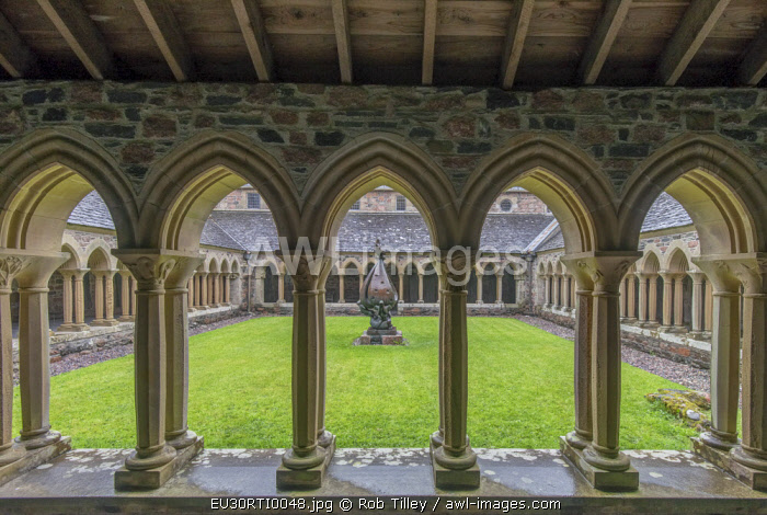 UK, Scotland, Isle of Iona. Iona Abbey Cloisters, the abbey was originally founded in the 6th century and was restored in the 20th century.