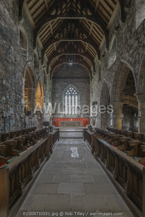 UK, Scotland, Isle of Iona. Iona Abbey Church, the abbey was originally founded in the 6th century and was restored in the 20th century.