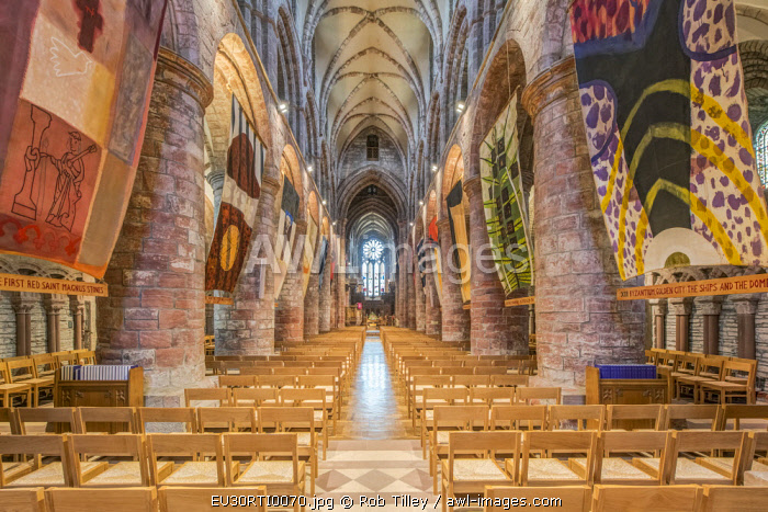UK, Scotland, Orkney Island, Kirkwall. St. Magnus Cathedral Interior completed in the 12th century when Orkney was part of the Kingdom of Norway