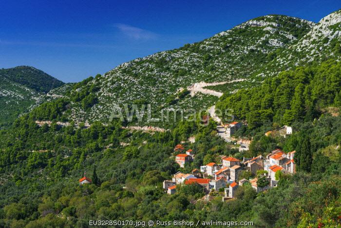 The hillside village of Maranovici, Mljet Island, Dalmatian Coast, Croatia