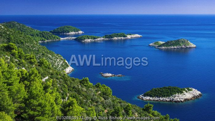 Islets along the coast at Maranovici, Mljet Island, Dalmatian Coast, Croatia