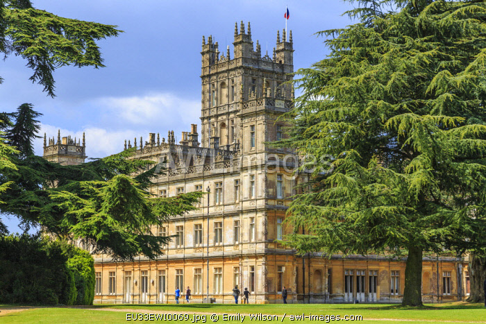 England, Hampshire. Highclere Castle, Jacobethan style country house, seat of the Earl of Carnarvon. Setting of Downton Abbey.