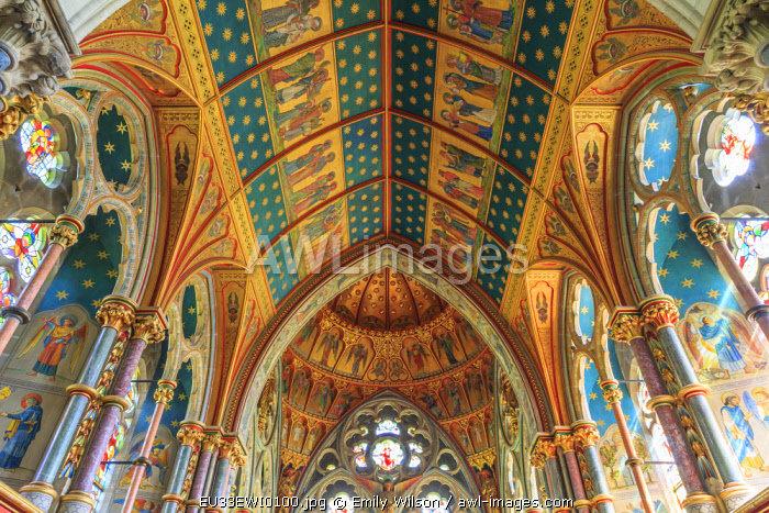 England, North Yorkshire, Ripon. Fountains Abbey, Studley Royal, Cistercian Monastery. Interior chapel, rose window depicting crucifixion. Gilded ceiling of the choir.
