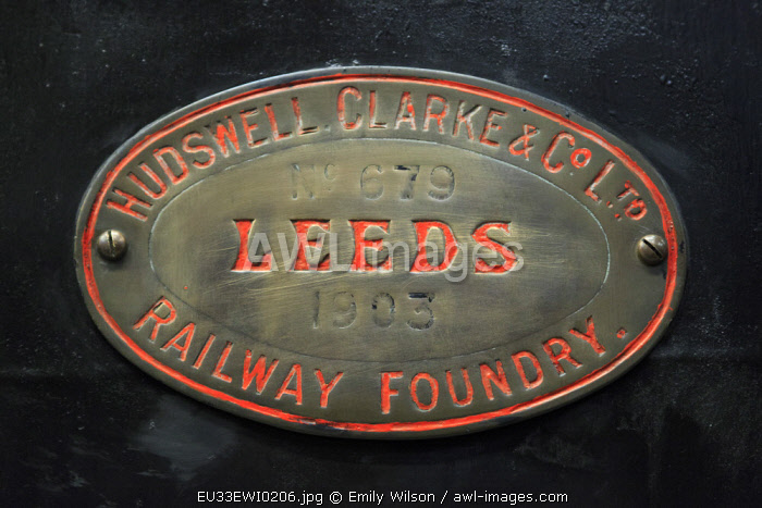 England, West Yorkshire. Keighley and Worth Valley Railway, steam trains, 5-miles up Worth Valley to Haworth and Oxenhope. Emblem Leeds railway foundry.