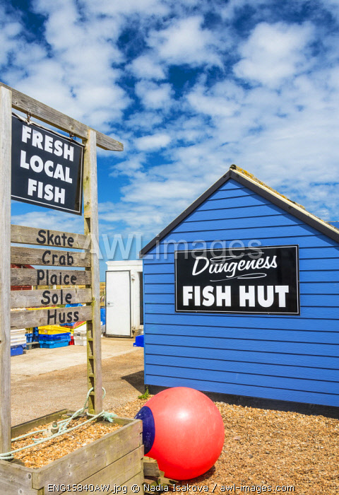 awl-images.com - England / A fish hut selling fresh seafood at Dungeness beach, Kent, England