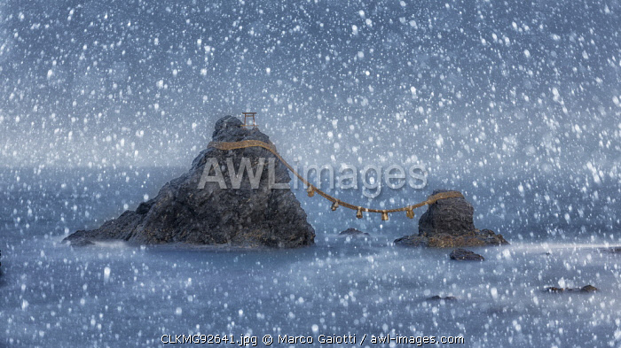 awl-images.com - Japan / Meoto Iwa (Wedded Rocks) in the rain, Futami, Mie prefecture, Japan