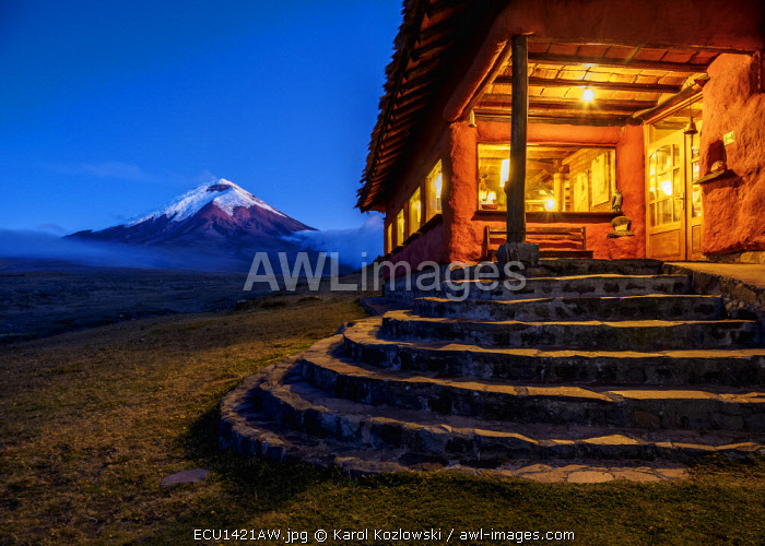 awl-images.com - Ecuador / Tambopaxi Mountain Shelter and Cotopaxi Volcano at twilight, Cotopaxi National Park, Cotopaxi Province, Ecuador