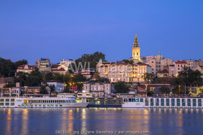 Serbia, Belgrade, View of Sava River across to St.Michael's Cathedral in the historical center
