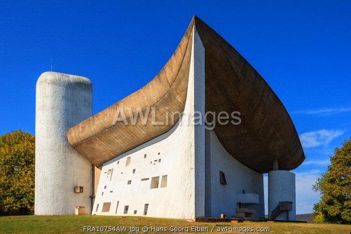 Notre Dame du Haut by architect Le Corbusier, UNESCO-World Heritage Site,Ronchamp, Haute Saone, France