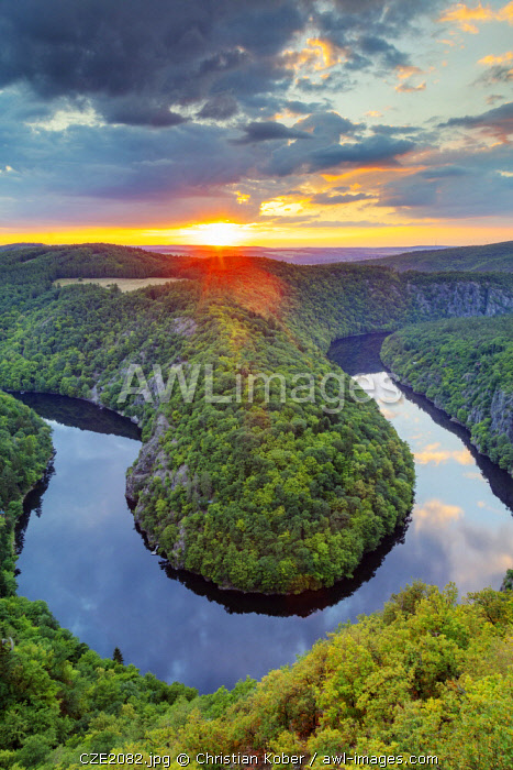 Europe, Czech Republic, bend on a river at sunset