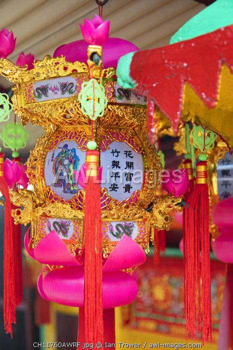 Lantern in shrine, Soho, Central, Hong Kong Island, Hong Kong, China