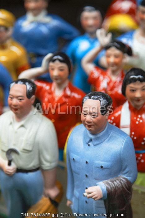 Chairman Mao model souvenirs at Cat Street anitques market, Sheung Wan, Hong Kong Island, Hong Kong, China