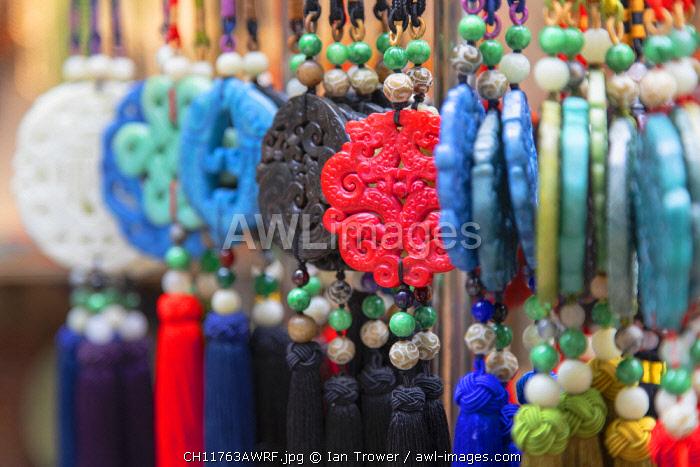 Chinese decorations at Cat Street anitques market, Sheung Wan, Hong Kong Island, Hong Kong, China